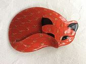 Gomina the Cat by Lea Stein of Paris in Tomato  /Orange Red Gold Lace (SOLD)